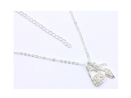 Crystal Stone Handbag & Shoe Charm Necklace in Silvertone - $9.95