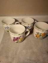 (4)  THOMSON  COFFEE MUGS / CUPS--  FLORAL GARDEN--3 DESIGNS-FREE SHIP--VGC - $31.67