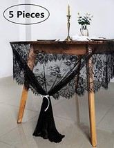 "B-COOL 60""x120"" Halloween Tablecloth Lace 5pcs Large Lace Tablecloth Lace Embroi"