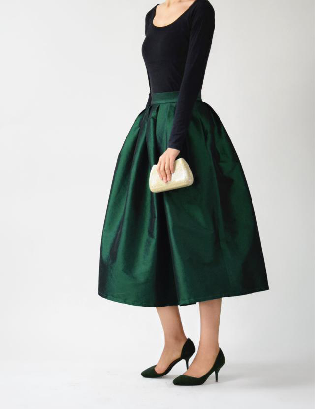 A-line Pleated Taffeta Skirt Ruffle Plus Size Pleated Skirt -Emerald Green, Red
