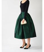 A-line Pleated Taffeta Skirt Ruffle Plus Size Pleated Skirt -Emerald Gre... - $58.55