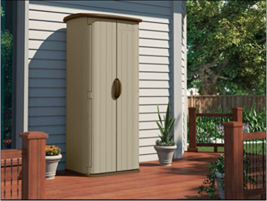 Outdoor Storage Shed Tall Garden Tool House Cabinet Vertical Plastic Pat... - $267.19