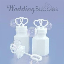 (144) White Double Heart Wedding Two Bubbles Bottles Wholesale Lot - $32.94