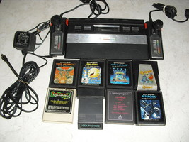 Atari 2600 Rainbow System With Joysticks, Adapter, 8 Games Combat,Yars Revenge - $128.69