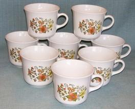 Vtg CORELLE Corning INDIAN SUMMER Cups Mugs -Set 8- Floral Orange Yellow... - $11.95