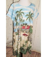 Bishop Street Vtg Cars Palm trees Beach Women's Hawaiian Summer Shift Dr... - $39.55