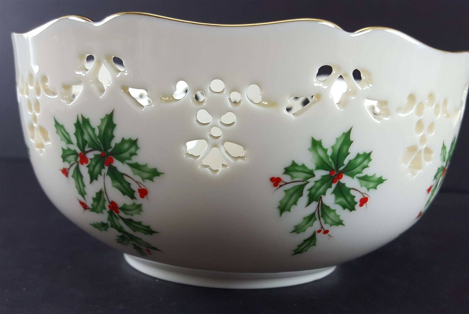 "LENOX China Holiday Dimension Pierced All Purpose Bowl 6"" Dinnerware image 5"