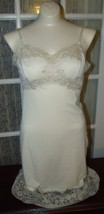 Vintage Van Raalte USA Dupont Nylon Ecru Lace Full Length Slip Sz 32A Be... - $25.99
