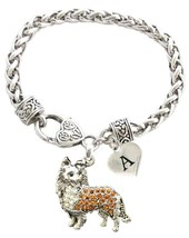 Custom Collie Dog Silver Bracelet Jewelry Choose Family or Initial Charms - $14.87