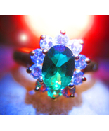 Haunted RING LEPRECHAUN WEALTH LUCK VESSEL MAGICK 925 GREEN GEM WITCH Ca... - $77.77