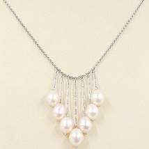 COLLIER OR BLANC 750 18K, TOMBANT, FRANGES, PERLES PÊCHE OVALES, CHAÎNE ROLO image 1