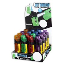 JET TORCH LIGHTER REFILLABLE WITH LED LIGHT - 1x w/RANDOM COLOR AND DESIGN