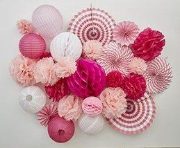 Tissue Paper Flower Pom Pom Lantern Fan Birthday Baby Bridal Shower Wedd... - $40.00