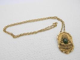 "VTG ""PERI"" Signed Chinese Gold Tone Pagoda Jade Necklace Pendant Pin Brooch - $39.60"