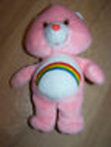 "9"" Cheer Bear Care Bear Bean Bag Plush Stuffed Animal 2002 Pink Rainbow ... - $15.00"