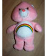 "9"" Cheer Bear Care Bear Bean Bag Plush Stuffed Animal 2002 Pink Rainbow ... - $15.00"