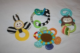 Sassy Nuby Fisher Price Monkey Ring Bumble Bee Teether Rattle Lot of 4 B... - $12.57