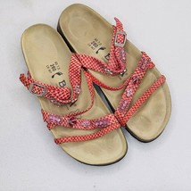 Birkenstock Betula women's sandal shoe 7 pink snakeskin like jewels slip on - $42.74