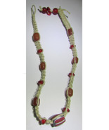 Africa Hand Made Woven Trade Bead  Necklace 16in - $19.50