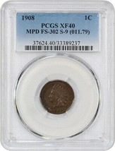 1908 1c PCGS XF40 (MPD, FS-302, S-9) Scarce Variety! - Indian Cent - $572.30