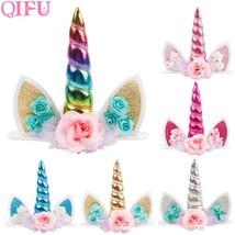 QIFU Unicorn Horns Cake Topper Kids Birthday Colourful Cake Decoration H... - €2,98 EUR