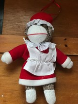 Small Brown Heather Sock Monkey Mrs. Santa Claus Christmas Holiday Plush... - $6.79