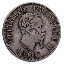 1866 Italie 50 Centesimi Pièce de Monnaie (VF État) Km 14.1 - $54.10
