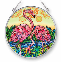 "Flamingo Lagoon Sun Catcher AMIA 4.5"" Round Hand Painted Glass Pink New  - €18,93 EUR"