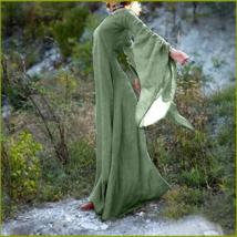 Medieval Wide Long Sleeved Floor Length Green Linen Gothic Chemise Under... - $78.95