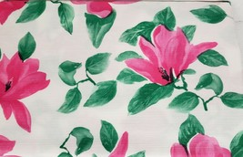 "PEVA FLANNEL BACK Vinyl Tablecloth 52""x 90"" Oblong, PINK FLOWERS # 1 by BH - $11.87"