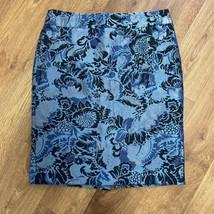 Ann Taylor Blue Black Brocade Floral Straight Pencil Skirt Size 10 Metallic - $31.68