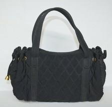 "Vera Bradley Black Microfiber Quilted Handbag Bag Purse 10"" x 7"" Drawstr... - $19.00"