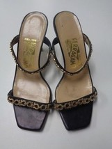 SALVATORE FERRAGAMO Black And Gold Textured Sandal Heels Size 7 Leather ... - $61.69 CAD