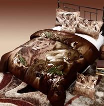 Lion Print Duvet Cover Set 100% Cotton Brown Reversible Twin Full Queen Size Bed - $49.99