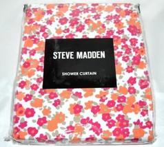 Steve Madden CARLINA Fabric Shower Curtain Hot Pink Orange White Petite ... - $22.24
