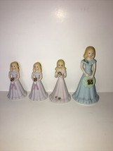 1982 Enesco Birthday Growing Up Girls Porcelain Brunette Figurines lot of 4 - $19.99