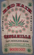 RED HAIR WEED BURLAP BAG #14 marijuana hippie sack pot leaf novelty storage - $11.72
