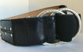 Michael Kors L/XL Wide Studded Black Leather Belt Double Logo Silver Ring USED - $23.76