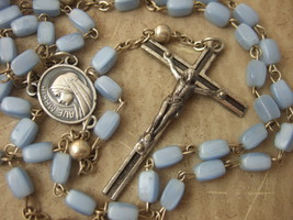 Vintage Catholic Rosary Blue Glass 4x6mm beads w/ silver metal Our Father - $26.18