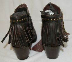 Lucky And Blessed SH 11 Dark Brown Leather Boots Fringe Metal Studs Size 7 image 4