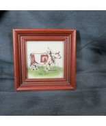Vintage Jean Henry Original Theorem Painting of Cow on Velvet, Folk Art - $23.36