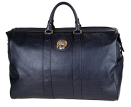 Authentic Burberrys Sport Vintage Logos Navy Leather Travel Boston Bag 50 - $256.41