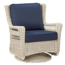 Park Meadows Off-White Swivel Rocking Wicker Outdoor Lounge Chair with M... - $295.00