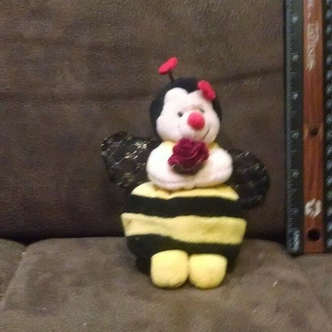 "Primary image for Russ Berrie Bumble Bee Named ""Bezzy"" Plush Holding Flower with Sparkle Wings"