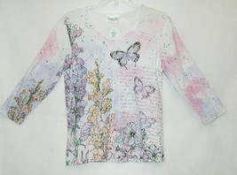 Cactus Bay Apparel Pink Purple White Butterfly Snapdragon Shirt Size Small image 1