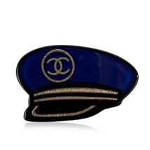 Authentic Chanel Blue Resin 2018 Captain's Hat Nautical CC Brooch Pin - $554.40