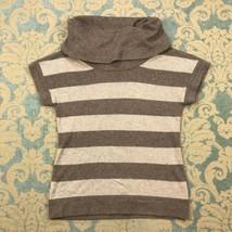 Gap Womens Sz M Knit Top Beige Striped Short Slv Cowl Neck Stretch Blouse - $14.80
