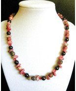 "18"" genuine leopard jasper, garnet, rhodonite and swarovski crystal neck... - $110.00"