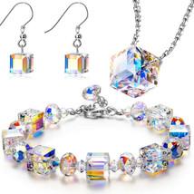 Vintage Aurora Borealis Necklace, Clip Earrings and Bracelet - $14.69