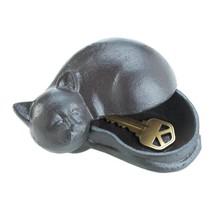 Cast Iron Sleeping Cat Garden Key Hider Figurine Garden Decor - $10.73